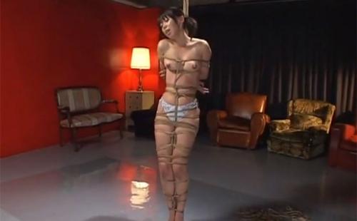 立位で縛り上げられ微かなローターの刺激と緊縛された縄の拘束だけで逝き果てる少女を視姦