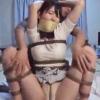 着衣のまま緊縛して両手を吊り上げ柱に拘束し股縄を施し猿轡で完全拘束の躰を弄り逝かさず生殺しの境地